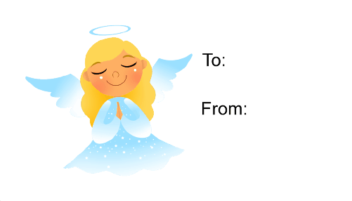 Angel Praying (white background) gift tag