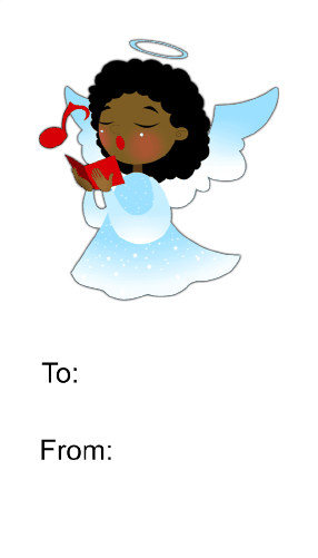 Angel Singing (white background) gift tag