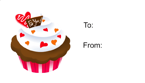 Cupcake (white background) gift tag