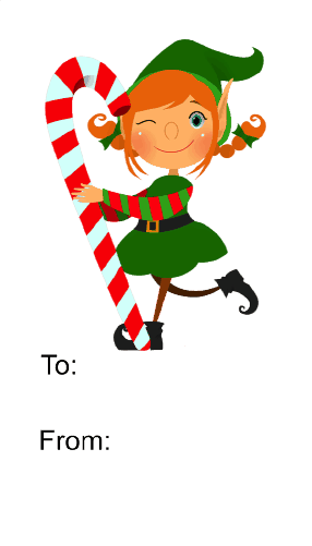 Elf with Candycane (white background) gift tag