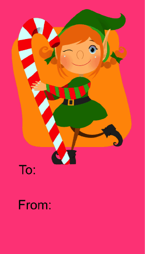 Elf with Candycane gift tag