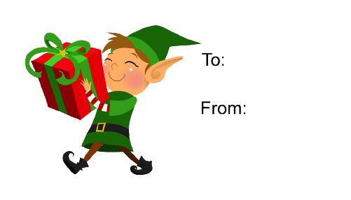 Elf with Gift (white background) gift tag