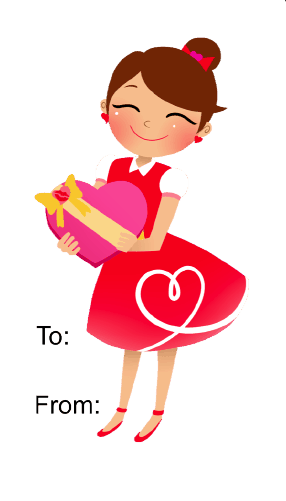 Girl Giving Gift (white background) gift tag