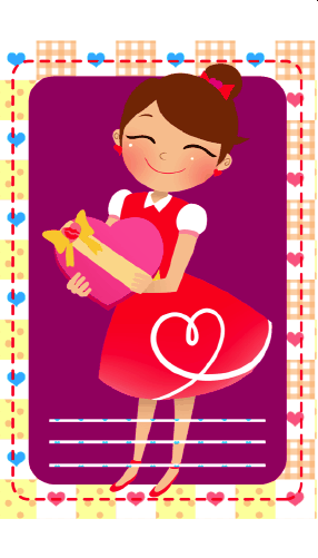 Girl Giving Gift gift tag