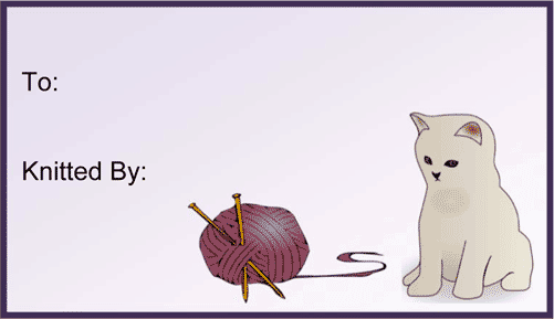 Knitted By Kitten gift tag