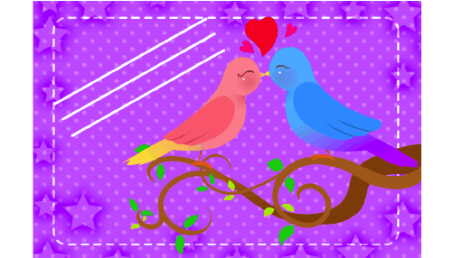 Lovebirds gift tag