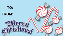 Merry Christmas Candycanes gift tag