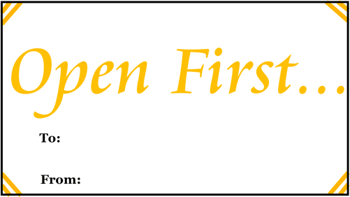 Open First Gift Tag gift tag