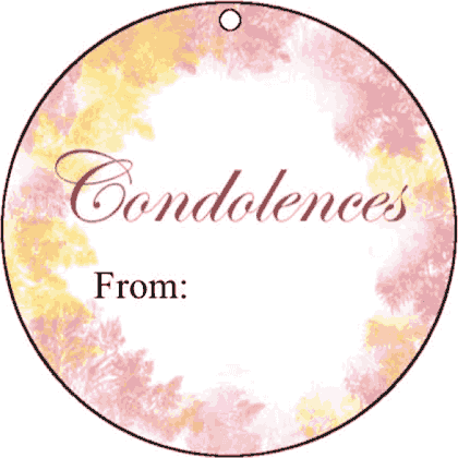 Round Gift Tag Condolences gift tag