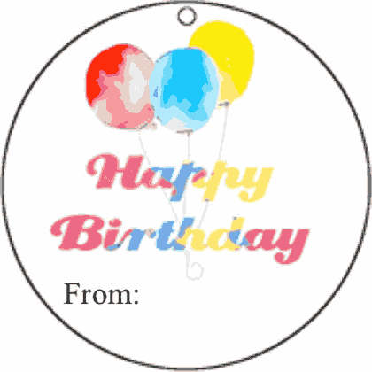 Round Gift Tag Happy Birthday gift tag