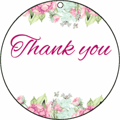 Round Gift Tag Thank You gift tag