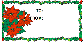 Christmas Poinsettia gift tag