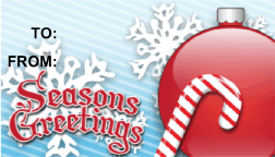 Seasons Greetings Candycane gift tag