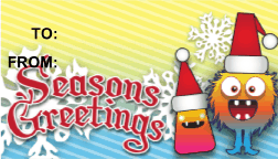 Seasons Greetings Monster gift tag