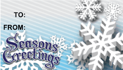 Seasons Greetings Snowflakes gift tag