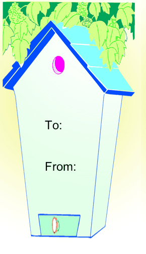 Birdhouse gift tag