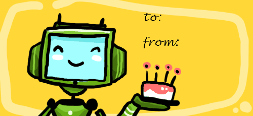 Birthday Robot gift tag