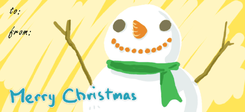 A Very Merry Snowman gift tag