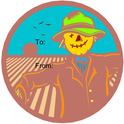 Scarecrow gift tag
