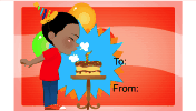 Birthday Boy Cake Candle Gift Tag