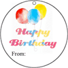 Round Gift Tag Happy Birthday