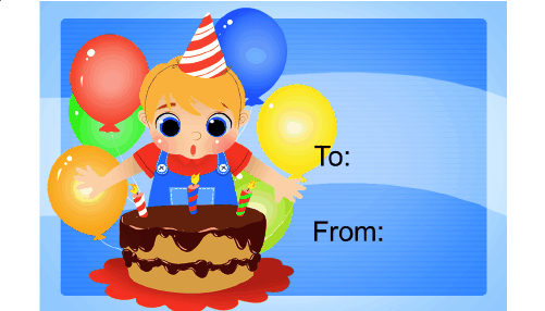 Birthday Boy Cake Candles Gift Tag