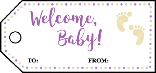 Welcome Baby Footprints Gift Tags Printable Gift Tag