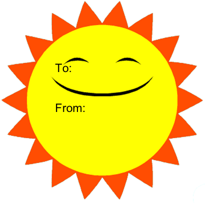 picture about Printable Picture of the Sun known as Sunlight Smile Printable Present Tag